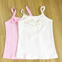 Сплошной белый малышей childre девушка рукавов топы tee underwear майка для девочки летние танки 2 шт./лот