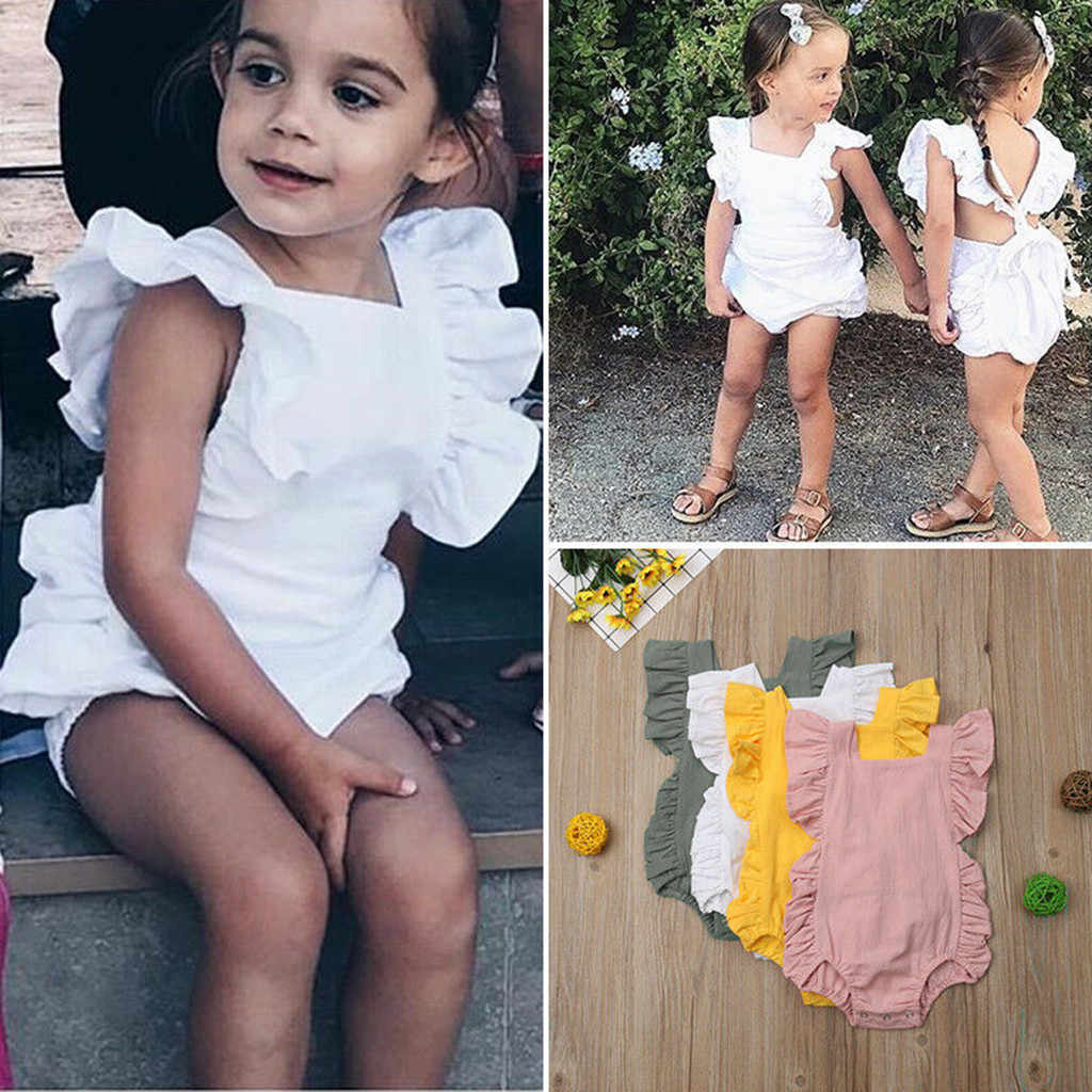 Baby Girls Clothes Newborn Infant Baby Girls Color Solid Ruffles Backcross New Arrival Romper Bodysuit Outfits vetement fille