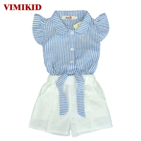 2016 New Girls Shorts Set Blue Navy Style Striped Fly Sleeve Bowknot Top White Pants Set