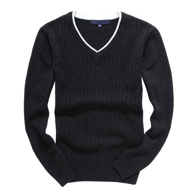 Homme tirón Suéter Otoño Invierno Hombre Caliente Con Cuello En V Jersey de Color Sólido de Punto de La Manga Completa Moda Hombre Sweaters Sueter Hombre