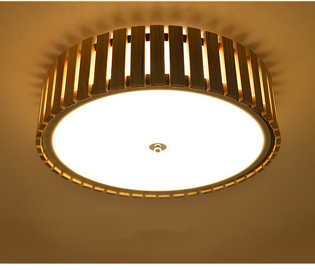 Japanese Led Round Ceiling Lights Wood Decorative Contemporary ...