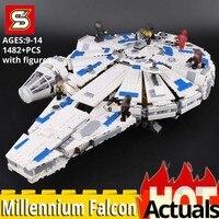 SY Bricks 1077 legoing star movie wars Force Awakens millennium falcon 75212 Building Blocks Educational toys Kids birthday gift
