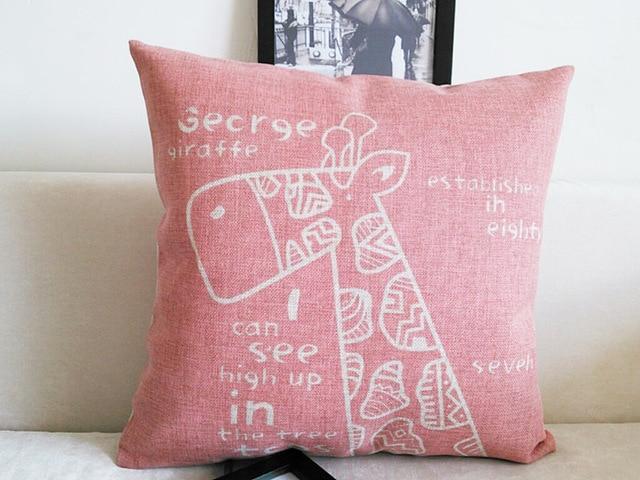 US $13.9 |Kim Store! Cute Cartoon Giraffe Print Pink Linen Throw Pillows,  Office Sofa Cushion, Bedroom Cushions covers 17\