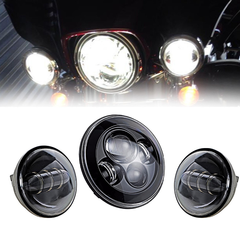 7 LED Projector Daymaker Headlight & 4.5 Auxiliary Passing Lights For Harley Davidson Softail Electra Street Glide Road King 4pcs set 7 daymaker projector led headlamp 4 5inch auxiliary motorcycle led fog light for harley touring softail trike flhtcuse