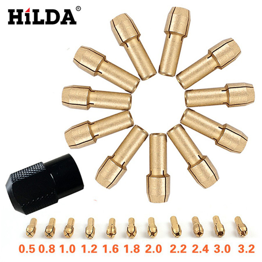 HILDA 12 Pcs/sets Brass Collet Chuck Rotary Tools Accessories 0.5/0.8/1.0/1.2/1.6/1.8/2.0/2.2/2.4/3.0/3.2mm + M8*0.75 Chuck