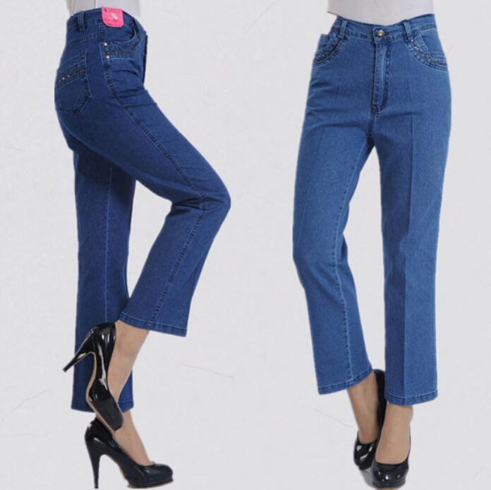 2017 new arrival spring summer middle aged women straight jeans plus size casual mom high waist