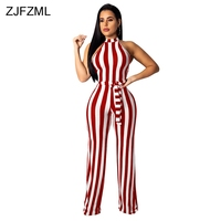 Black White Vertical Striped Sexy Jumpsuit Women Off The Shoulder Sleeveless Wide Leg Romper Elegant Stand Collar Sashes Overall