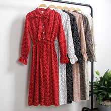 Autumn Chiffon Shirt Dresses Women Tunic Office Party Polka Dot Vintage 2019 Spring Casual Red Midi Floral Dress Female