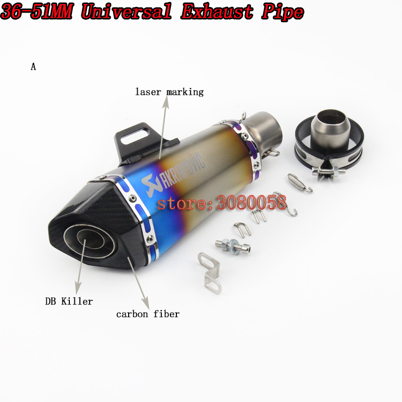 2017 New Universal Motorcycle Exhaust Pipe Carbon Fiber Modified Scooter Muffler Motorbike db killer For R25 Z750 Ninja250 MT-09 inlet 51mm universal exhaust motorcycle for akrapovic muffler pipe modified large displacement carbon fiber color db killer 51