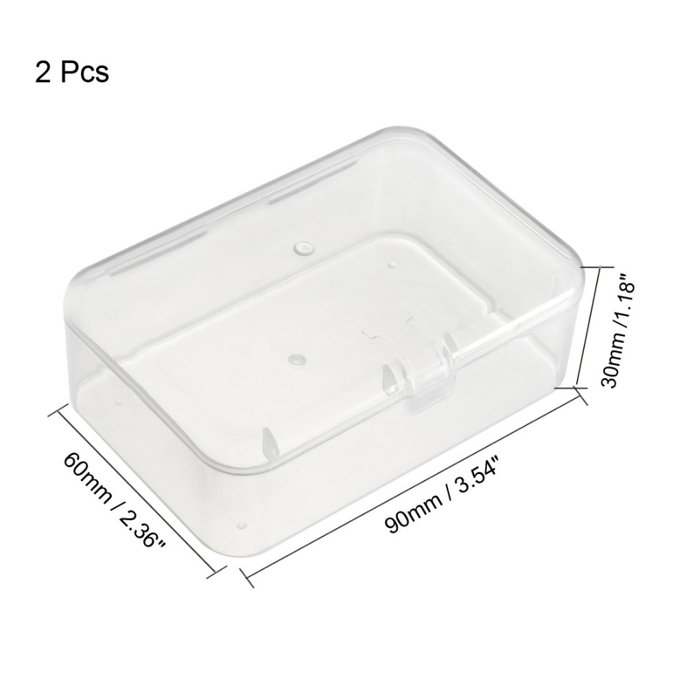 Uxcell 2pcs/lot Single Buckles Clear White Plastic Component Storage Box Electronic Component Containers Tool Boxes 90x60x30mm