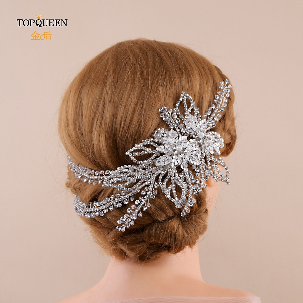 TOPQUEEN HP254 Chinese Bridal Hair Accessories Wedding Headpieces Bridal Headband Rhinestone Best Selling Bridal Headband Tiara