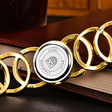 Gold Plated Look Watches Circles Bracelet Rhinestone Quartz
