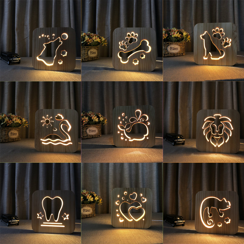 Wooden 3D Decor Lamp Light Kids Bedroom Decoration Warm Light LED USB Night Light For Children Birthday Holiday Gift Drop Ship