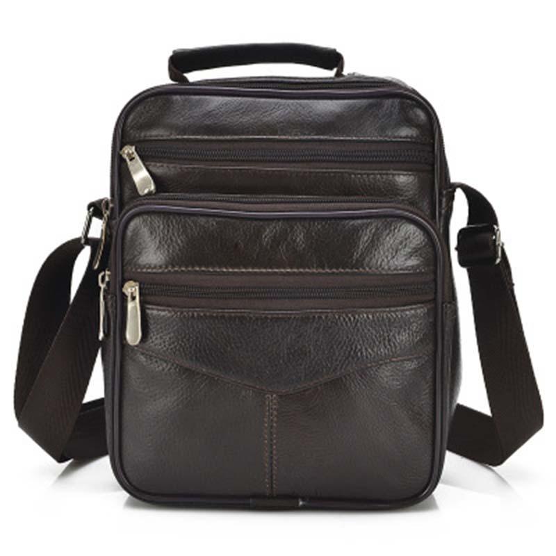 HOLYBIRD Men's Genuine Leather Crossbody Shoulder Bags  Men Business Messenger Bag  Large Capacity  Shoulder Bag For Men