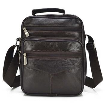 2480729792acd Hakiki Deri erkek Çantası Rahat Crossbody Iş Deri Erkek askılı çanta  Vintage Erkekler Çanta Katı Fermuar omuz çantası