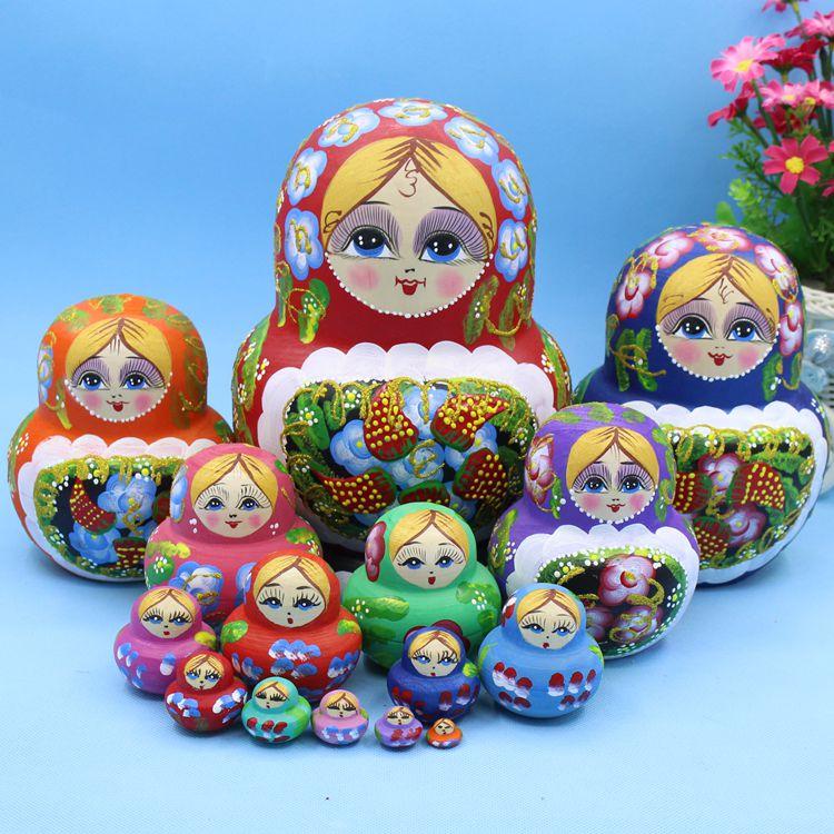 15 pcs 20cm de madeira russa bonecas de aninhamento dos desenhos animados tradicionais matryoshka bonecas para