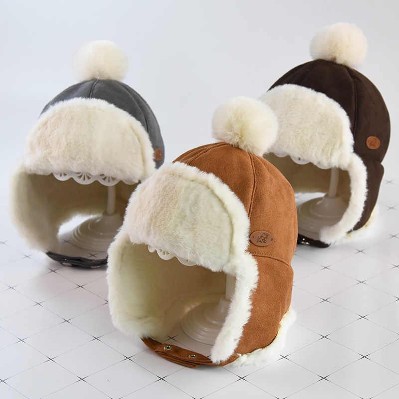 หมวกเด็กเด็ก Lei Feng หมวกฤดูใบไม้ร่วงฤดูหนาวเด็กอบอุ่นหมวกสาว Deer Suede Earmuffs หนา Plush หมวกเด็ก beanies