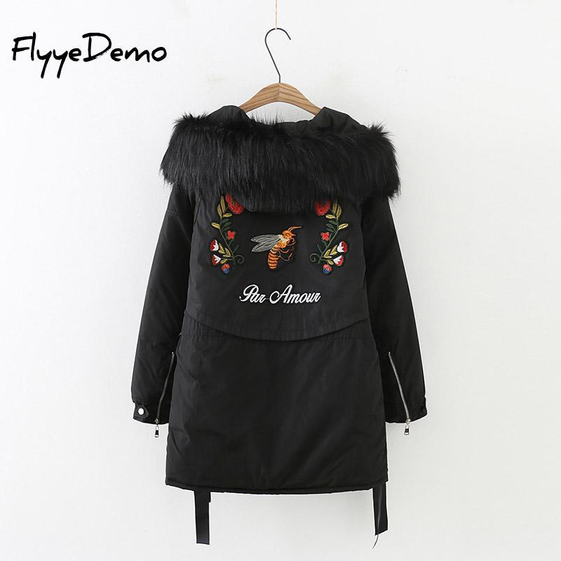 2019 New   Parkas   Bee Floral Embroidery Women Winter Coat Thickening Cotton Winter Jacket Women Outwear   Parkas   Women Plus Size 5XL