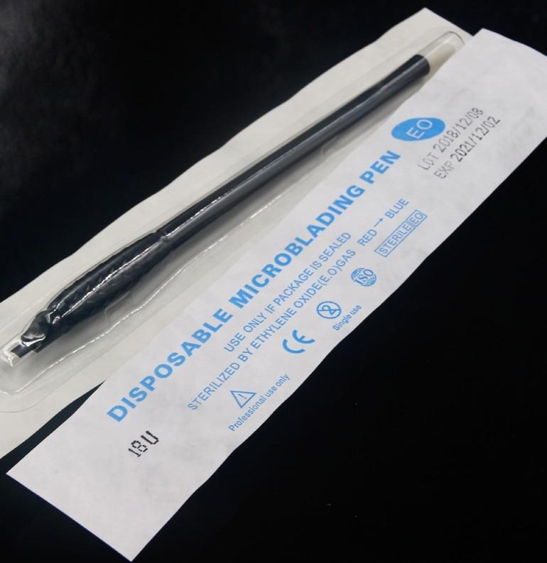 Image 5 - 2019 new design 100pc disposable microblading pen 18U with 0.15mm blade permanent makeup manual eyebrow handpiece tattoo machinenail art penart pentools drawing -