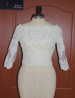 Modest Wedding Jacket Appliques Long Sleeves Bolero Wedding Custom Made