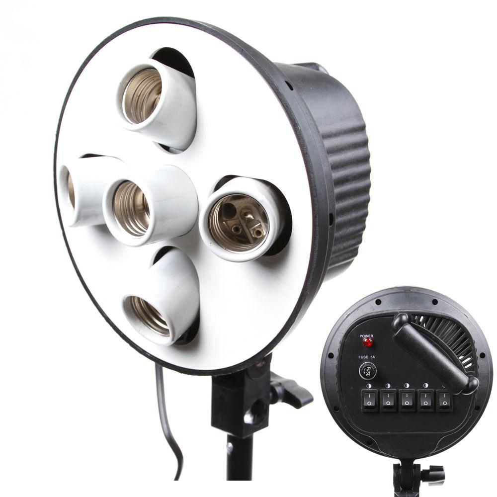 5 In 1 5 Socket E27 Bulb Head Bracket Light Flash Lamp Umbrella Holder Adapter for