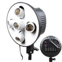5 In 1 5 Socket E27 Bulb Head Bracket Light Flash Lamp Umbrella Holder Adapter for Photo Studio Softbox Monopod Stand