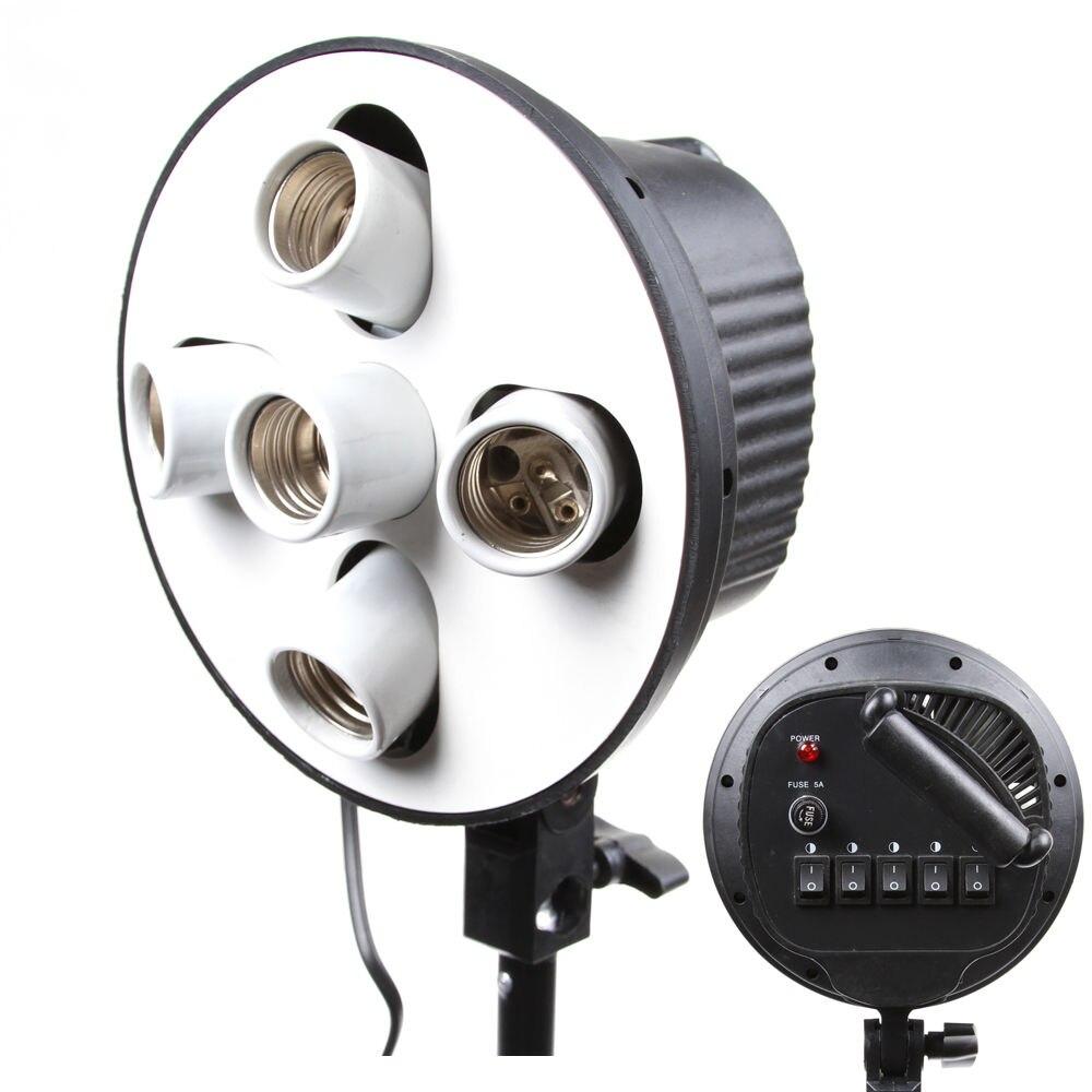 5-en-1 5 Prise E27 tête d'ampoule Support Lumière Flash Lampe porte-parapluie Adaptateur pour Photo Studio Softbox Monopode stand