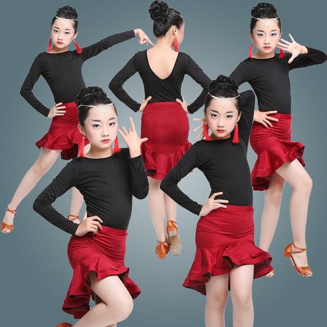 7e367395ff82d Ruffle Skirt Children Kids Dancing latin dance wear for girls latin salsa  dress ballroom tango dresses kids spandex 2018 rumba