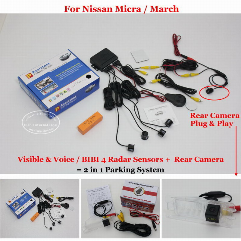 Car Parking Sensors + Rear View Camera = 2 in 1 Visual / BIBI Alarm Parking System For Nissan Micra / March for citroen berlingo saxo xsara car parking sensors rear view camera 2 in 1 visual bibi alarm parking system