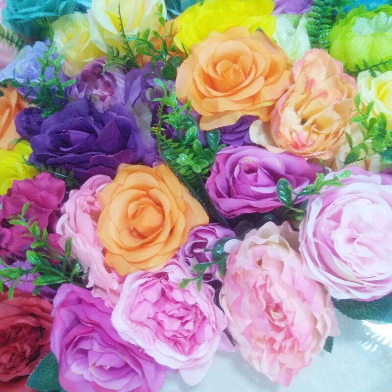 SPR الملونة جميل الاصطناعي مناسبة عرس زهرة جدار خلفية ترتيب الزهور زينة-في زهور مجففة واصطناعية من المنزل والحديقة على  مجموعة 2