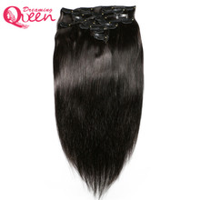 Dreaming Queen Hair Straight Hair Clips In Human Hair Eextensions 120g 7pcs/Set 1 Bundles  Clips Ins  Brazilian Remy Hair