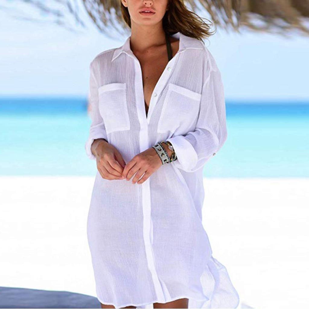 2019 Solid Women Swimwear Beach Cover Up Perspective Beach Dress Kaftan Beach Wear Blouse Shirts Pareos De Playa Saida De Praia