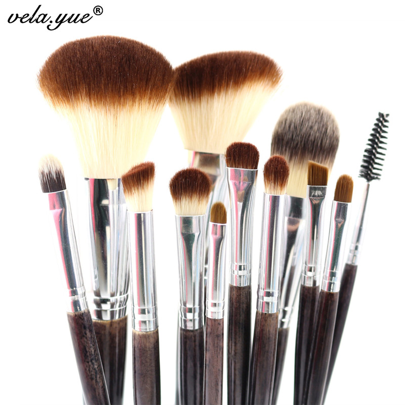 Professional Makeup Brushes Set 12st Pulver Foundation Blush Eyeshadow Liner Brow Lip Gloss Highlight Kontur Skönhetsverktyg Kit