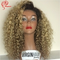 Top malaysian virgin hair front lace wig 150 density curly human 1b 27 two tone ombre wig ombre full lace wig with heavy density