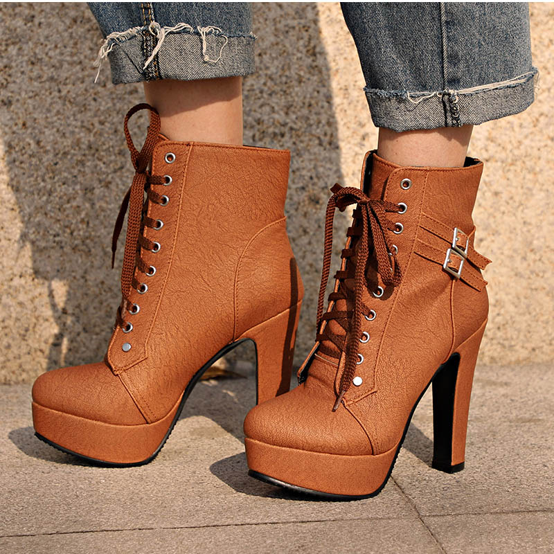 MCCKLE Plus Size Ankle Boots Women Platform High Heels Female Lace Up Women's Shoes Buckle Woman Short Boot Ladies Footwear