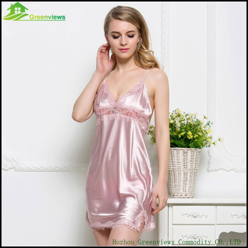 Sexy Backless Lingerie Sleeveless Summer Dress Women s Slip Satin Chemise V  Neck Dress Sexy Lingerie M L 5 Farbe-in Nightgowns   Sleepshirts from  Underwear ... 25bf8d2bc