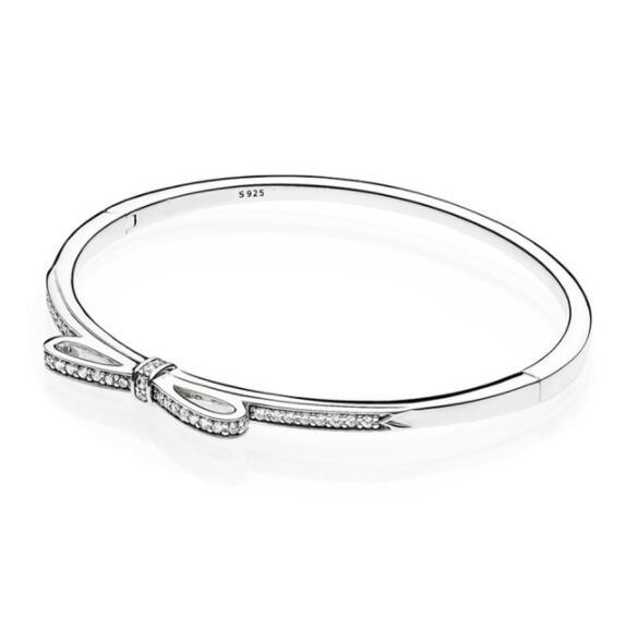 Top Qualité Mousseux Arc Avec zircone cubique Pandora Bracelet Fit Femmes Perle Charme 925 Sterling Argent Bracelet L'europe Bijoux