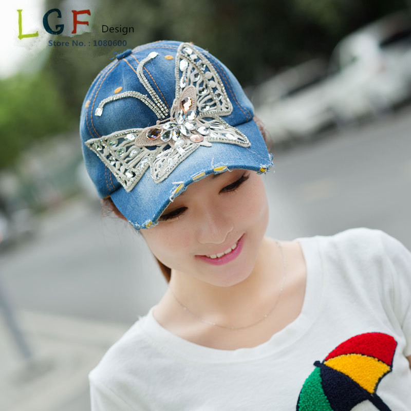 2015 Lgf Design Diy Benutzerdefinierte Brief Schmetterling Bling Strass Baumwolle Leinwand Denim Baseball Caps Für Frauen