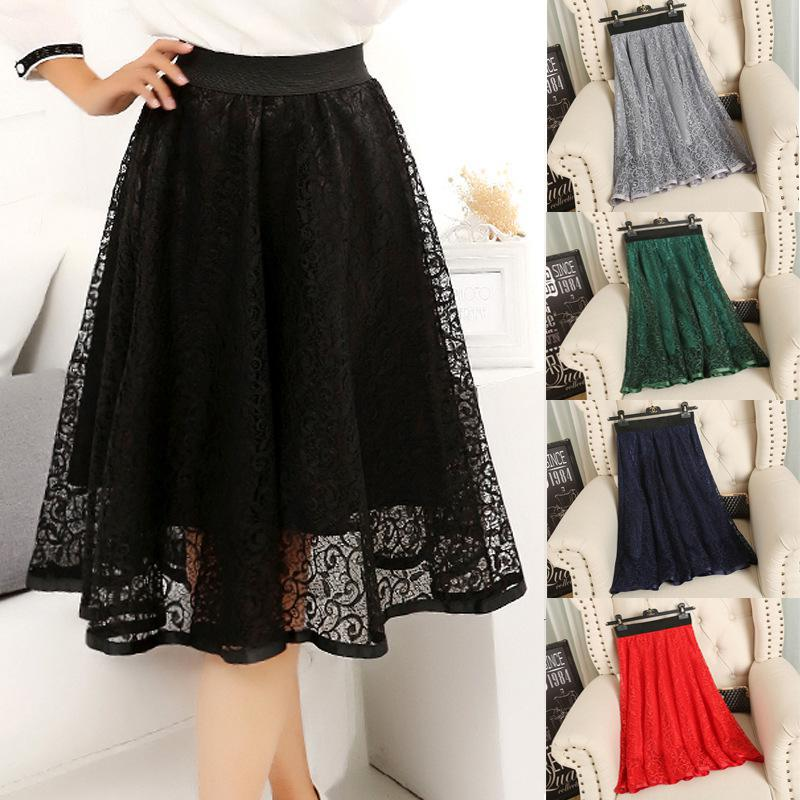 2019 New Spring And Summer Women's Waist Gauze Lace Skirt Thin A A-line Long Skirt Free Shipping