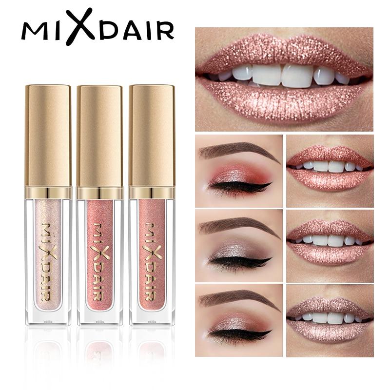 MIXDAIR 6 Color mate brillo de labios brillo destacar conjunto líquido lápiz labial sombra de ojos cara maquillaje resaltador de pigmento