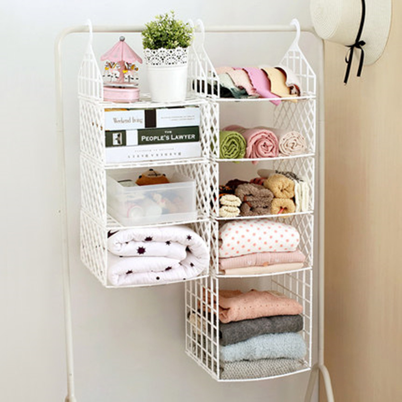 White Collapsible Closet Storage Shelf Rack With Hooks Bag Coat Clothes Hat Holder Organizer For Home Decoration