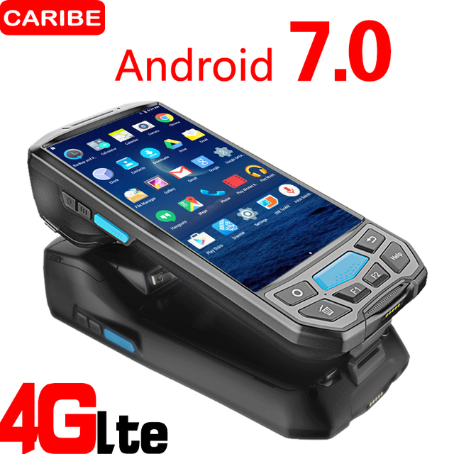 Caribe PL 50L الكمبيوتر المحمول الروبوت PDA Wifi 2D ماسح الرمز الشريطي بتقنية Bluetooth و GPS طابعة UHF RFID NFC طابعة POS