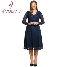 IN'VOLAND Women Lace Dress Plus Size V-Neck Button Long Sleeve Evening Party Hollow Size Pleated Midi Dresses Plus Size L-4XL
