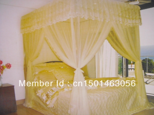 Gold French tianlun mosquito net stainless steel door chiffon square tube bed frame