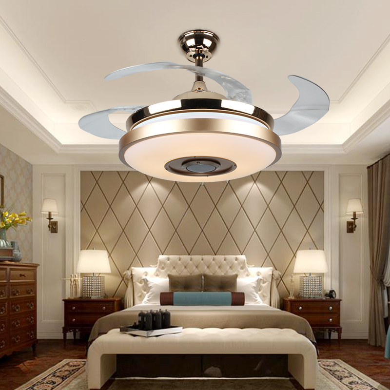 "42 Modern Bluetooth Ceiling Fan Light Remote Music: 36"" Or 42"" Intelligent Bluetooth Stereo Invisible Ceiling"