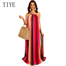 TIYE Women Summer Sleeveless Halter Open Back Vintage Rainbow Stripe Print Maxi Dress Loose Floor Length Sexy Boho Beach