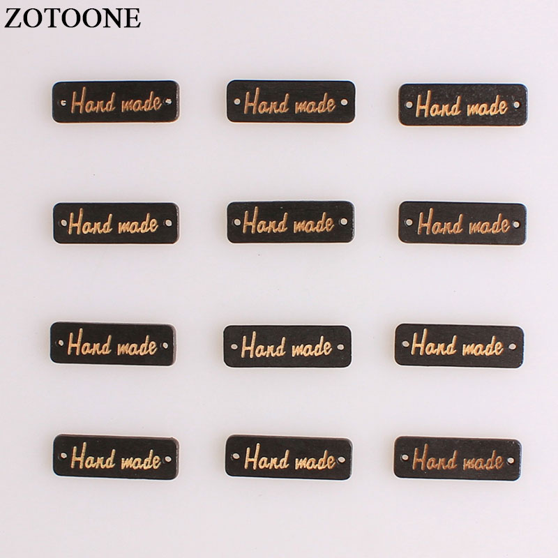 ZOTOONE Black Rectangle Hand Made Wooden Button Wood Button Sewing Accessories For Clothes Handmade DIY Scrapbooking Craft A in Buttons from Home Garden