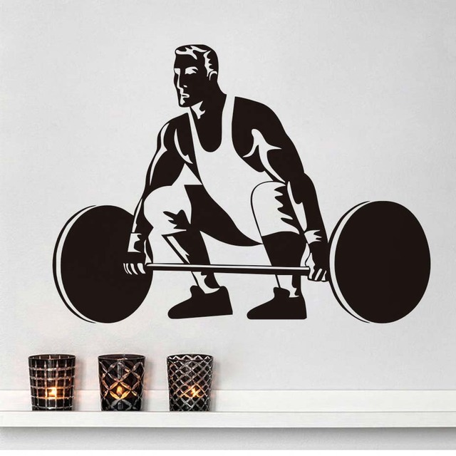 Fashion Weightlifting Vinyl Wall Sticker Gym Sport Stickers Hollow Out Self Adhesive Wallpaper For Fitness Center