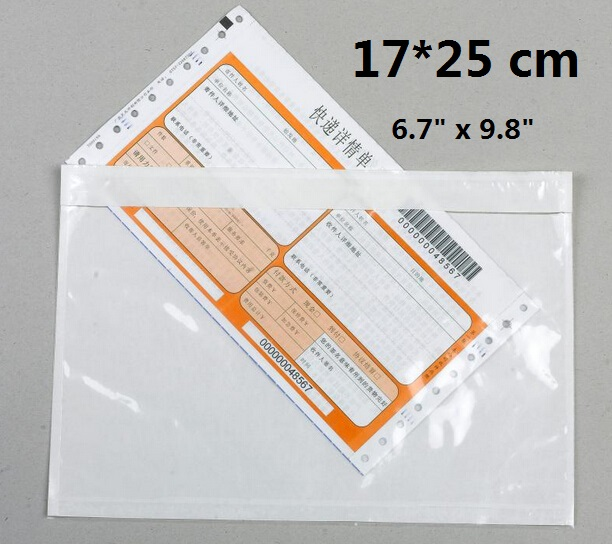 17*25cm Self Adhesive Clear Packing List Envelope Postage