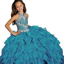 Нарядное Пышное Платье с лямкой на шее для маленьких девочек Длинные бальные платья для детей, длинное платье для выпускного вечера vestido menina, платье принцессы для девочек возрастом от 2 до 12 лет